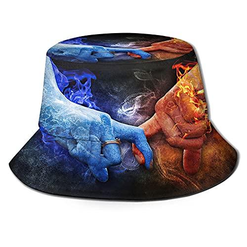 AOOEDM Anillo de diamantes Símbolo de amor romántico Hielo y fuego chocan con chispas de amor Sombrero de pescador al aire libre Sombrero de playa plegable Sombrero para el sol UVTravel Sombrero de ve