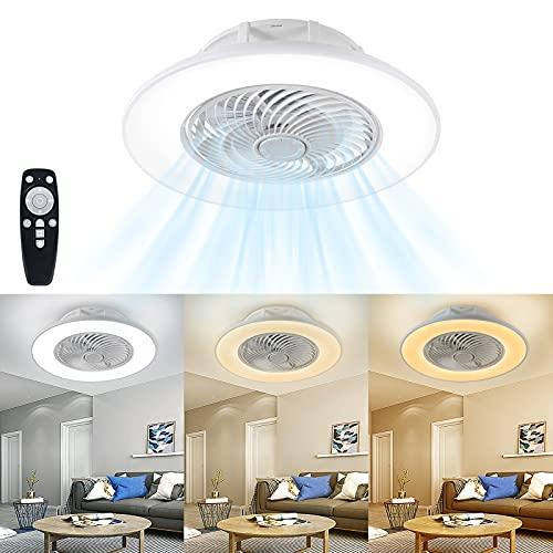 HENGMEI Deckenventilator mit Beleuchtung und Fernbedienung leise Dimmbar Deckenlampe mit Ventilator Led Deckenleuchte Ventilatorlicht für Wohnzimmer Schlafzimmer