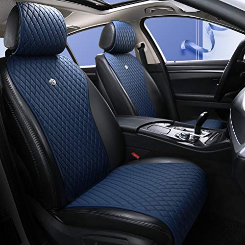 Blue Seat Covers Auto Seat Cushion Covers Leather Universal Seat Covers 2/3 Covered 11PCS Fit Car/Auto/Suv (A-Dark blue)