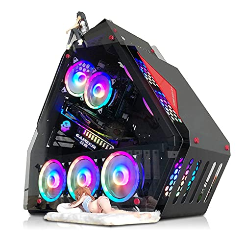 WSNBB ATX Mid Tower PC Gaming Case,Vidrio Transparente Lateral para Juegos En Forma De Café De Internet,Panel Frontal con 9 Posiciones De Ventilador Compatible con Ventilador De 14 Cm