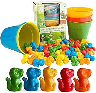 Hapinest Dinosaur Colour Sorting and Counting Activity Set - Educational Learning Games for Toddlers Preschool Ages 4 Year...