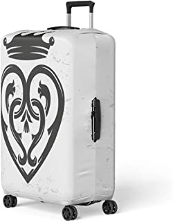 Luggage Cover Luckenbooth Brooch Vintage Scottish Heart Shape Crown Symbol Valentine Travel Suitcase Cover Protector Baggage Case Fits 26-28 Inch