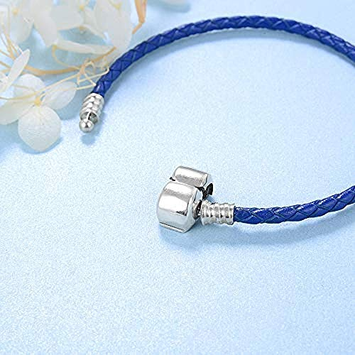 Silver Bead Charms Navy Blue Braided Leather Buckle Weave -19Cm 925 Sterling Silver Fine Pendants Bracelet Jewelry Making Girls Teens Diy Best Gift Fit Original Charm