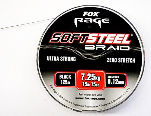 Fox Rage Soft Steel Braid geflochtene Schnur 125m, Raubfischangeln, Angeln auf Raubfische, Hecht, Zander, Barsch, Durchmesser:0.10mm