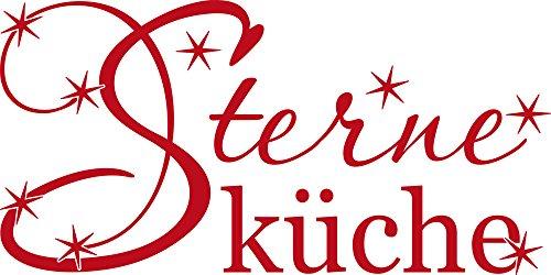 GRAZDesign Wandtattoo Swarovski für Küche, Wandtattoo Steine selbstklebend Restaurant, Wandtattoo mit Glitzersteinen Sterne Küche, Wandtattoo Wandspruch / 80x40cm / rot