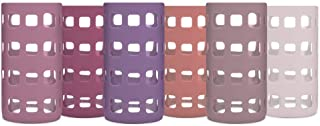 Silicone Glass Water Bottle Sleeves - 6-Pack of Protective Holders 16-18 oz Capacity - Anti-Slip Protection for Beverage C...