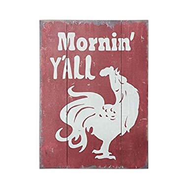 Barnyard Designs Mornin' Y'all' Rooster Retro Vintage Wood Plaque Bar Sign Country Home Decor 15.75  x 11.75