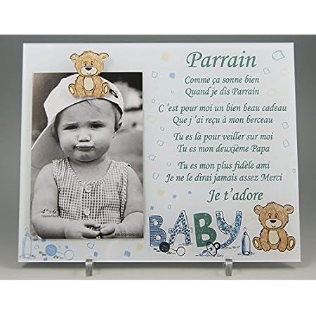 Cadre Photo - modèle Bleu pour Parrain – (Cadeau Parrain Marraine Baptême & Communion)