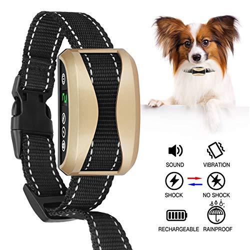 [New 2019] Humane Bark Collar-Dog Bark Collar-Anti Barking Collar Small Dogs Medium Large Dogs-Rechargeable Waterproof Anti Bark Collar-No Bark Collars Sound Warning Vibration Electric Stimulation
