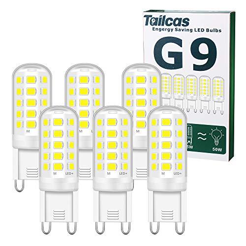 Ampoules LED G9, 5W Equivalent 50W Halogène Lampe, Blanc Froid 6000K 500LM Non Dimmable Sans Scintillement AC 220-240V pour Ceiling Lighting, Chambre Salon Cuisine Jardin, Paquet de 6