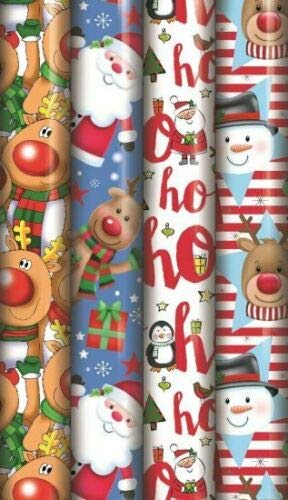 4 x 8M Rolls Cute Reindeer Snowman HO HO HO Christmas Parcel Gift WRAP Wrapping Paper