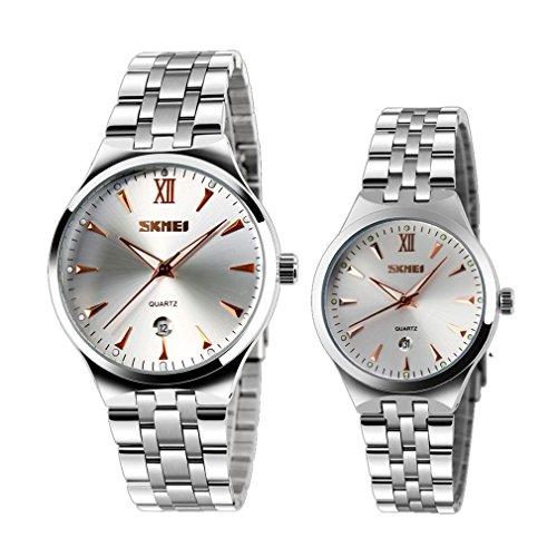 de los hombres populares y de cuarzo de las mujeres del reloj luminoso aumentaron marcadores de oro Fecha reloj bella pareja (juego de 2)