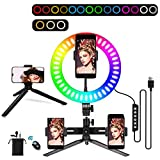 LED Ring Light,10 inch Standing Ring Light Stand 14 Colors RGB Dimmable with Tripod Stand Selfie Stick,Ring Make Up Light, Selfie, Vlog, Live Stream, YouTube, Phone Video Shooting[USB Plug] camera flashes Apr, 2021