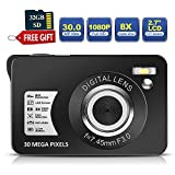 30 Mega Pixels Digital Camera 2.7 Inch HD Camera Rechargeable Mini Camera Students Camera Pocket Digital Camera with 8X Zoom Compact Camera with 32GB SD Card for Photography