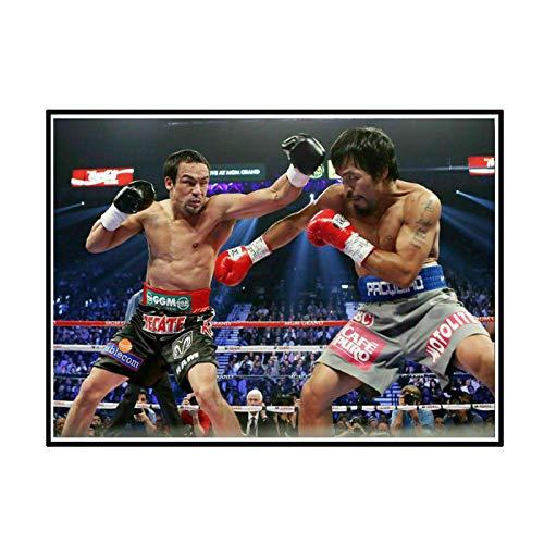 ADNHWAN Manny Pacquiao Vs Juan Manuel Márquez Boxeo Wall Art Posters Pintura Imprimir Sala de Estar Decoración del hogar Regalo -24X32 Pulgadas Sin Marco 1 PCS