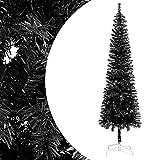 vidaXL Árbol de Navidad Delgado Artificial Invertido con Soporte Decoración Adornos Festivos Navideño Vacaciones Interior Exterior Negro 150 cm