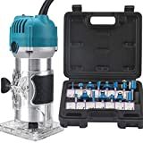 TwoWin 110V 800W Compact Router with Fixed Base, 15 Trim Router Bits, For Processing Woodworking Trimming Notches Cutting Straight Pattern