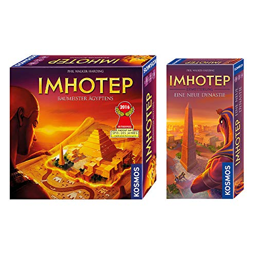 Kosmos 692384 - Imhotep - Baumeister Ägyptens, das Grundspiel, nominiert zum Spiel des Jahres 2016 + Imhotep - Eine neue Dynastie, Erweiterung des Grundspiels