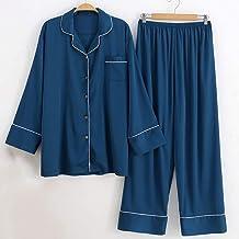 Kleding Satijnen pyjamaset voor dames in grote maten, 2-delige kleding voor thuisgebruik hemdtops en broeken met lange mou...