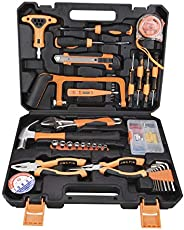 SOLUDE Home Repair Tools Kit,82 Pieces General Household Hand Basic Tool Set with Plastic Toolbox Storage Case