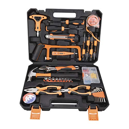 SOLUDE Home Repair Tools Set,82 Pieces General Household Hand Basic Tool Kit with Plastic Toolbox Storage Case