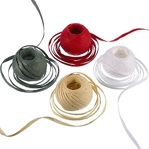 4 rollos de cinta de papel de rafia de colores navideños con cuerda roja, verde, blanco, para embalaje de regalos, decoración de Navidad