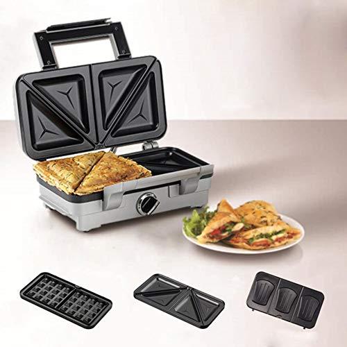 HKDJ-sandwich-broodrooster, 3 in 1, met 3 anti-aanbaklaag en uitneembare kookplaten, 1000 W