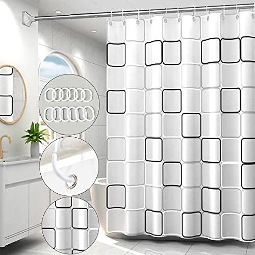 Duschvorhang,Anti-Schimmel Wasserdichter 180x200cm,Duschvorhang aus Kunststoff Waschbar Anti mit 12 Duschvorhängeringen,Duschvorhang Schwarz Weiß Kariert,Anti Bakteriell Kunststoff-Duschvorhang