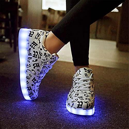 7 Farben LED Schuhe -USB Aufladen Leuchtschuhe-Damen Herren Licht Blinkt Sneaker-Leuchtende Sport Turnschuhe (Size : 43)