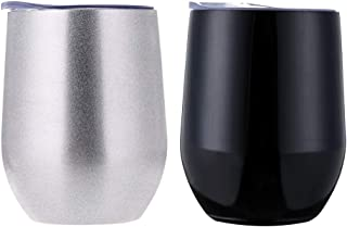 H&F 12oz Stainless Steel Wine Glasses Egg Shape Sippy Cup Shatterproof Vacuum Stemless Cups Insulated Drinking Tumbler with Lid for Wine, Coffee & Other Beverages 2 Pack