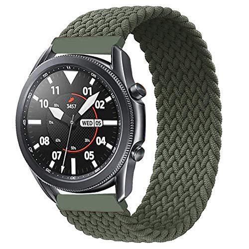 Correa de nailon trenzado compatible con Galaxy Watch Active 40 mm R500/Galaxy Watch Active 2 40 mm 44 mm/Galaxy Watch 42 mm Strap, Braided Solo Loop Ajuste elástico Pulsera de nailon 20 mm