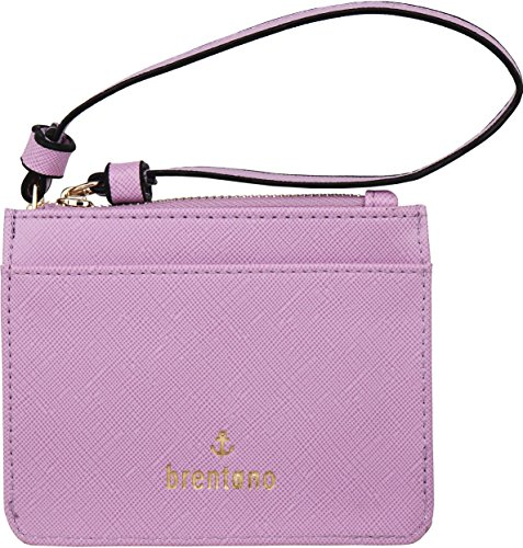 B BRENTANO Vegan Saffiano Leather Slim ID Credit Card Case with Wristlet Strap (Lavender)