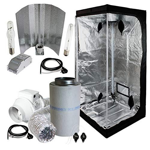 Cultivalley Growbox Komplett-Set 80x80x180cm, 250W NDL MH Wuchs & HPS Blüte Bausatz, 160m³ Standard Klimaset mit AKF