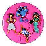 Aladdin Princess Jasmine y Genie Molde de silicona para la torta de Decoración Pastel de Cupcake Toppers Glaseado Sugarcraft Tool por Fairie Blessings