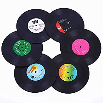 Coasters for Drinks with Gift Box - Set of 6 Colorful Retro Vinyl Record Disk Coasters with Funny Labels-Prevent Furniture from Dirty and Scratched-4.2 Inch