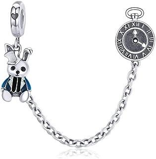 LAMOONY Safety Chain Charm 925 Sterling Silver Stopper Charm Clip Charm Lock Charm for Pandora Charm Bracelet (o)