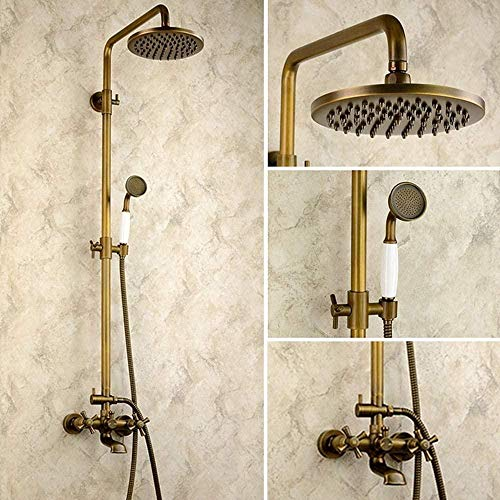 Juego de ducha de baño de cobre antiguo europeo 3 funciones ducha de mano bronce retro sistema de sobrecarga con el grifo de la palanca de elevación Circular Top Spray no se oxida sistema de ducha