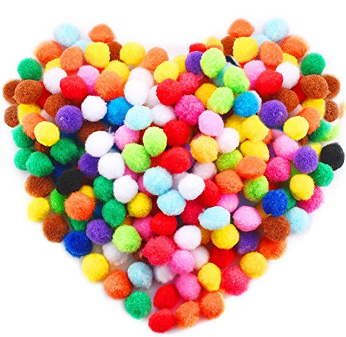 Acerich 300 Pcs 1 Inch Assorted Pompoms Multicolor Arts and Crafts Fuzzy Pom Poms Balls for DIY Creative Crafts Decorations