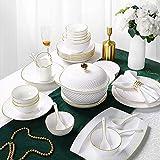 Accessori per il soggiorno Set da tavola Set da tavola in ceramica Ciotola/piatto/pentola da minestra/cucchiaio|Set da tavola in bone china Set da tavola in porcellana bianca goffrata con motivo a