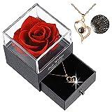 Rose Eternelle, Préservé Rose Collier avec 100 Langues Je t'aime Texte à L'intérieur, Boîte Cadeau, Cadeau pour Fête des Mères La Saint-Valentin Anniversaire Mariage (Rouge-B)