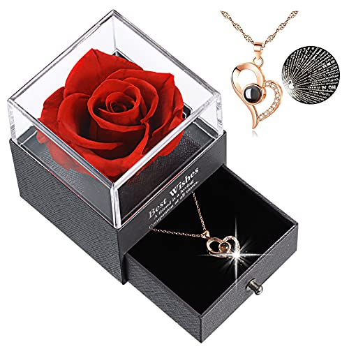 Rosa Eterna Preservada, Collar con El Texto 'i Love You' En 100 Idiomas En El Interior, Caja De Regalo para San Valentín, Cumpleaños, Boda, Día De La Madre