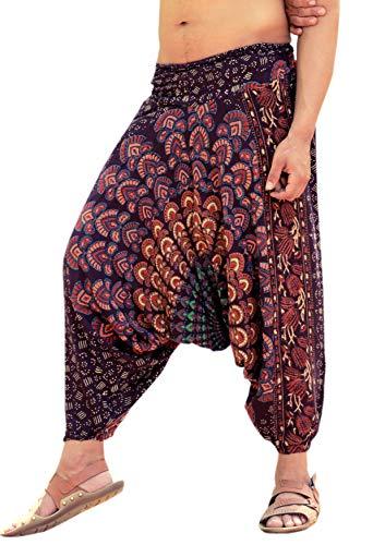 Sarjana Handicrafts Haremshose für Damen und Herren, Rayon, Mandala-Taschen, Yogahose im Schritt - Braun - Einheitsgröße