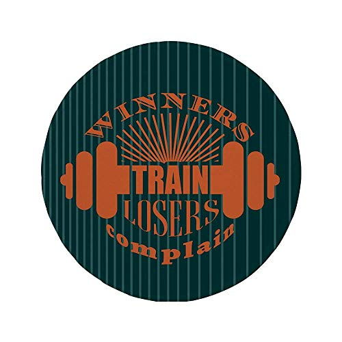 Rutschfeste Gummi-Runde Mauspad Fitness Gewinner Zug Verlierer beschweren sich Zitat Design Hantel Icons Bodybuilding Petrol Blue Teal Orange 7,9 'x 7,9' x3MM