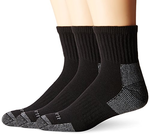 Carhartt Men's 3 Pack Work Quarter Socks,  Black, Shoe: 6-12