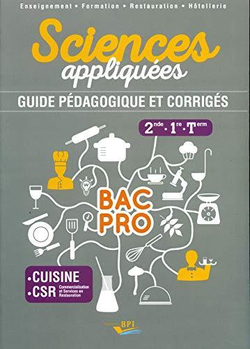 Sciences appliquées 2de, 1re, Tle Bac Pro cuisine CSR