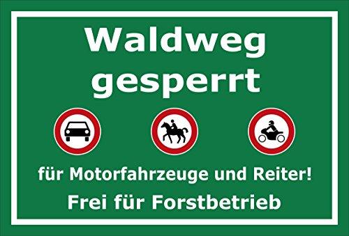Melis Folienwerkstatt Schild Waldweg gesperrt - 30x20cm - Bohrlöcher - 3mm Aluverbund – 20 VAR S00359-034-E
