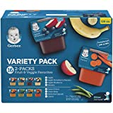 Gerber Purees 2nd Foods Veggie & Fruit Variety Pack, 8 Ounces, Box of 16 (Packaging May Vary)