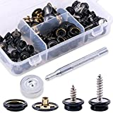 Glarks 120-Pieces Stainless Steel Marine Grade Canvas and Upholstery Boat Cover Snap Button Fastener Kit with 2Pcs Setting Tool (40 Sets) - Black