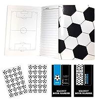 BNSサッカーブックマーカー別柄2セット+サッカーノート(A6サイズ)ミシン綴じタイプ2冊+シール2枚セットプライム