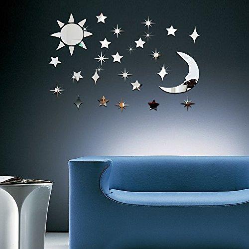 Sun Moon Star Sticker Mural Mirror Acrylique Environnemental Solide Sticker Mural Combinaison Amovible Libre B Argent